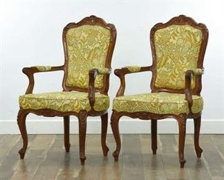 Pair Carved French Provincial Bergere Armchairs