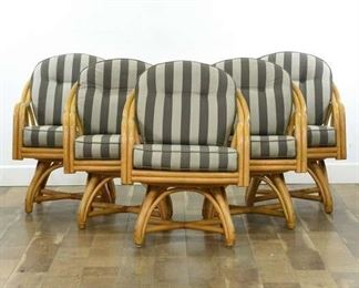 Set 5 Vintage Striped Bentwood Rattan Dining Chairs
