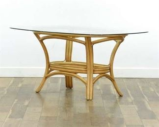 Bentwood Rattan Glass Top Dining Table