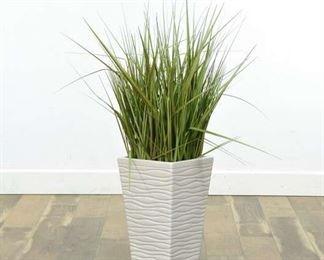 Artificial Prairie Grass In White Ceramic Planter