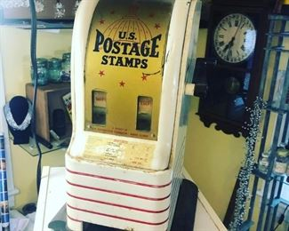 Vintage cast iron coin op Postal stamp dispenser- cast iron base - all metal and glass - $150 shipping available