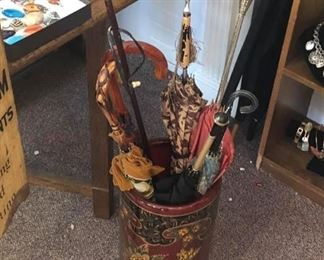 Vintage hand painted umbrella holder With beautiful  Vintage umbrellas / The holder is $15 - Umbrellas $5 each