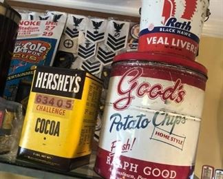 Old tins - Large Hersheys is $20, Veal Liver Indian Chief head $20,