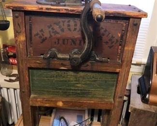 Large hand crank corn shucker nice painted stencil both sides - one side has large cast iron wheel $150