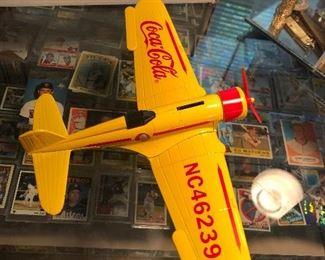 coca cola biplane - yellow -  diecast $5