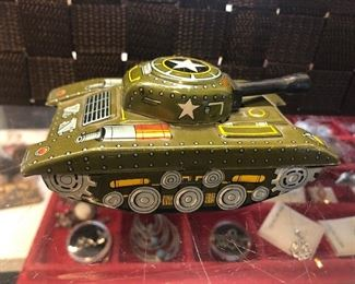 Marx tin toy military tank - about 5 inch long - $5
