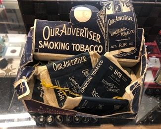 RJ Reynolds adverting product display with old tobacco bag packs - $10