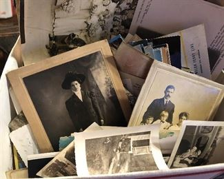 Box lot of old photos and cabinet cards and post cards, and ephemera paper items mixture found in estate home - lots of stuff