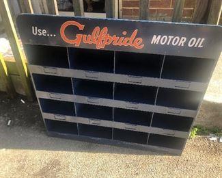 Restored gulfpride motor oil metal organizer