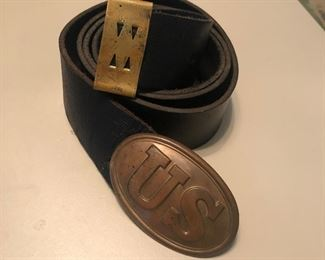 Civil war belt and buckle - unknown age may be a replica for reenactment? Very well made leather heavy brass have more pictures if requested