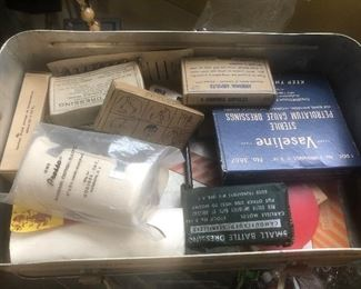 $8 Lot of vintage military first aid - battle dressing mixture