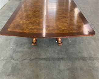 $5000 Traditional Dining Table by Baker Furniture Burlwood Brass Inlay  DIMENSIONS 132ʺW × 62ʺD × 31ʺH