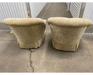 Baker Tufted Club Chairs - a Pair Price:$1,075 DIMENSIONS 38ʺW × 36ʺD × 33ʺH 19 Inch Seat Hight