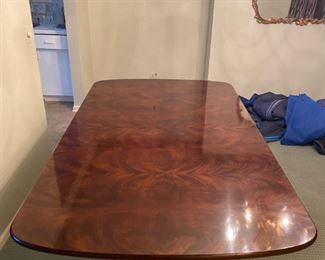 1990s Aston Court by Henredon Table With 2 Leaves $1,995 Dimensions 76ʺW × 45ʺD × 29ʺH Leaves add an additional 18 inches each to the length