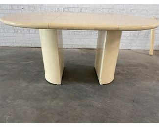 1980s Karl Springer Style Lacquered Goat Skin and Wood Dining Room Table Table includes 3 leaves $1,995 DIMENSIONS 44ʺW × 44ʺD × 33ʺH leaves add 19.5 inches each to table length