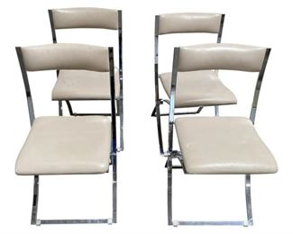 1970s Chrome Folding Chairs by Marcello Cuneo for Mobel Italia- Set of 4 $1,995 DIMENSIONS 18ʺW × 23.5ʺD × 35ʺH Seat Height 18 inches