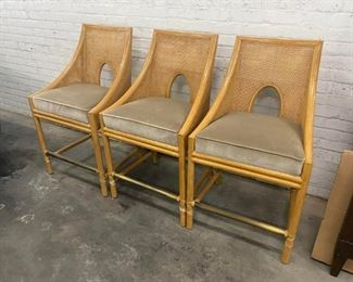 Mid-Century Barbara Barry for McGuire Caned Barstools- Set of 3 Price:$1,495  DIMENSIONS 22ʺW × 19.5ʺD × 42ʺH SEAT HEIGHT 26.0 inches