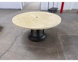 Murrays Iron Works Outdoor Table With Stone Top Price:$2,295  DIMENSIONS 60ʺW × 60ʺD × 30ʺH