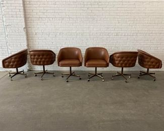 Mid Century Modern Club Barrel Chairs- Set of 6 Price:$5,295 DIMENSIONS 25ʺW × 23.5ʺD × 23ʺH 23 Inches Seat Height