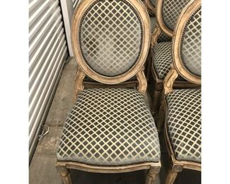 Dessin Fournir Italian Neoclassical Style Oval Back Side Chairs- Set of 14 Price:$5,395  DIMENSIONS 26ʺW × 23ʺD × 47ʺH