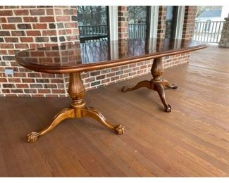 Traditional Century Furniture Clawfoot Dining Table $1,995 DIMENSIONS 80ʺW × 47ʺD × 30ʺH Table Leaves add 20 inches each. 2 leaves included