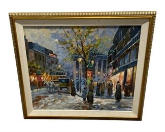 Pezbaylon Cityscape Painting in Frame $595 DIMENSIONS 29ʺW × 1ʺD × 25ʺH