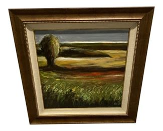 Mark Pulliam Landscape Oil on Board Painting in Frame $895 DIMENSIONS 30ʺW × 1ʺD × 30ʺH