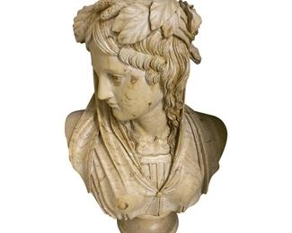 Roman/Greek Style Marble Solid Bust $995 DIMENSIONS 16ʺW × 10ʺD × 24ʺH