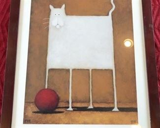 White Cat Print by Daniel Kessler $75 or best offer