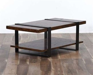 Contemporary Reclaimed Style Metal Frame Coffee Table