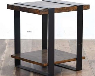 Contemporary Reclaimed Style Metal Frame End Table