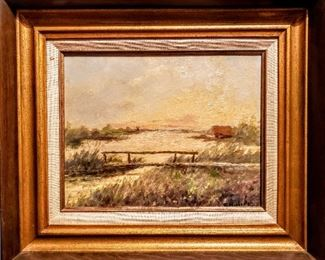 """Original vintage landscape painting on board. Please see photos for artists signature. Visible area - 10 1/2"""" x 13 1/2"""". Frame size - 17 1/2"""" x 20 1/2"""". Asking $190.00 OBO..."""