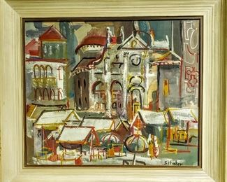 """Original Mid Century Modern impressionist painting by SCHULER. Original painting on board under glass. Visible area - 18 1/4"""" x 22 1/4"""". Frame size - 24 1/4"""" x 28 1/4"""". Asking $225.00 OBO..."""