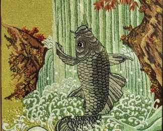"""Gorgeous large Japanese needlepoint on silk, framed & matted under glass. Strong colors, fish in waterfall scene. Visible area - 14 3/4"""" x 19"""", frame size - 20 1/4"""" x 25 1/4"""". Asking $160.00 OBO"""