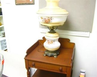 """Conant Ball Side table - 20""""W x 16 1/2""""D x 28""""T  $185/       Large Victorian Style Lamp  $125"""