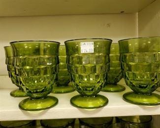 6 Pc green Cubist Juice glasses $24