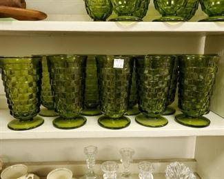 10 Pc green Cubist ice tea glasses $50