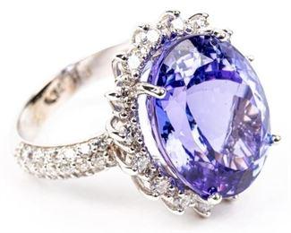 Jewelry 14kt White Gold Tanzanite & Diamond Ring