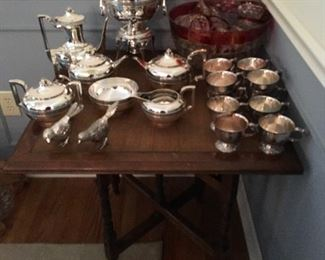 Mahogany table, silverplate tea set, Indiana Glass Whitehall ruby flashed punch bowl set