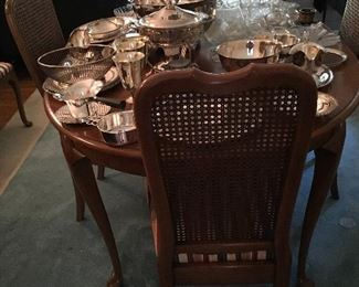 Dining table and chairs, silverplate