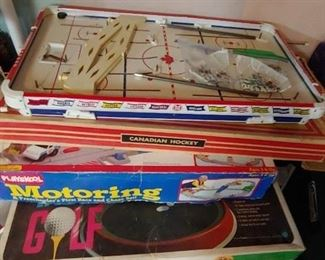 Vintage Canadian Hockey and Arnold Palmer Table Golf along Playskool Motoring. All in very nice condition and complete.