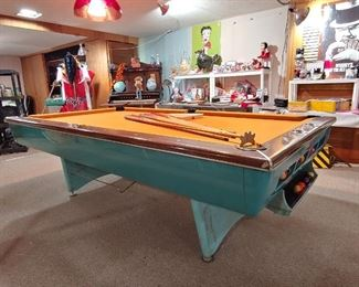 This Beautiful vintage AMF Pool Table was purchased from West County Bowling Alley owned by the Pattersons.