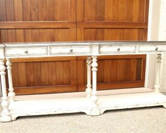 Long cream console with metal finish top                             18D x 92L x 37H    sale price     $525