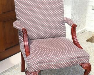 Now $75    Upholstered side chair with painted wood arms                    29W x 26D x 40H         sale price            $125!!!!!