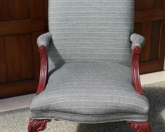 Now $75   Upholstered arm chair with dark cherry wood             29W x 26D x 40H         sale price                  $125!!!