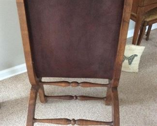 Antique Campeche Chair oak framed 21 1/2 wide and 36high