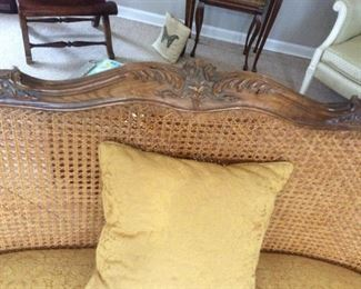 Peter Andrews Setee 59-1/2x21x37h beautiful cane back setee wood carved framing cushioned seat excellent condition