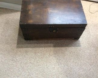 Vintage Wooden Chest 24x13x11h. One handle is missing otherwise in very nice condition