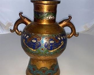 "Asian inspired metal vase with clossiane. 7.5"" tall $75.00"