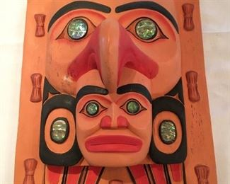 "#61 $95 Pacific Northwest mask, unsigned, 16"" x 11"""